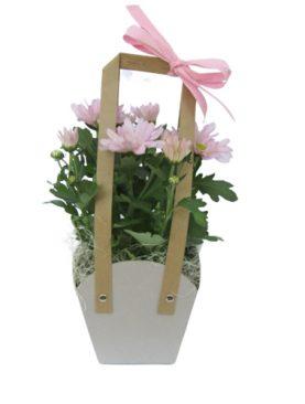 Чанта с хризантеми - розови