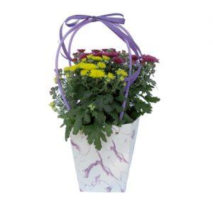 Чанта с хризантеми - лилави и жълти