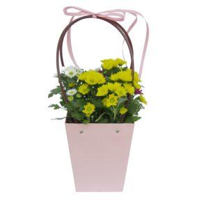 Чанта с хризантеми - жълти и бели
