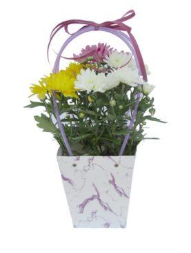 Чанта с хризантеми - бели, жълти лилави