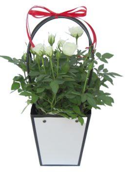 Чанта с бели рози