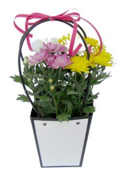 Чанта с хризантеми - жълти, розови, бели