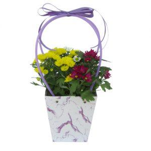 Чанта с хризантеми - жълти и червени