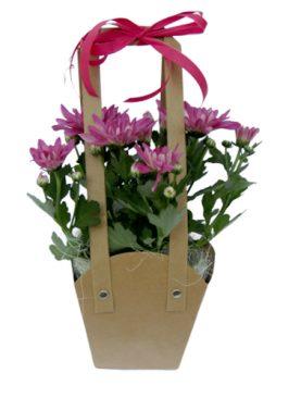 Чанта с хризантеми - лилави