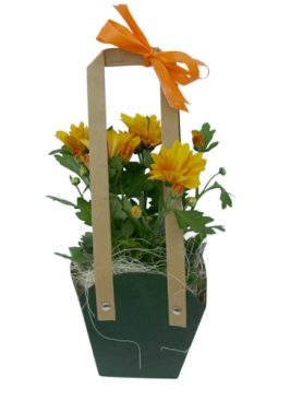 Чанта с хризантеми - оранжеви