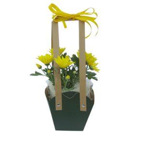 Чанта с хризантеми - жълти